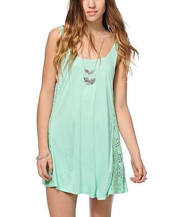 Empyre Mija Mint Crochet Inset Dress