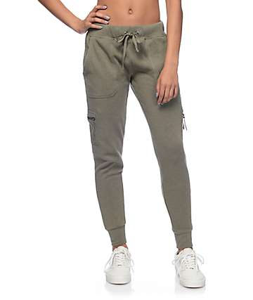 Empyre Milana Olive Knit Cargo Jogger Pants