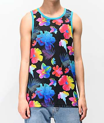 Empyre Neon Floral Black Tank Top