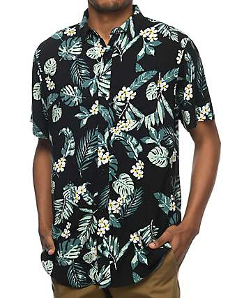 Empyre Night Moves Black & Green Tropical Short Sleeve Button Up Shirt