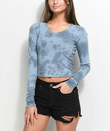 Empyre Nisha Blue Tie Dye Cut Out Long Sleeve Crop Top