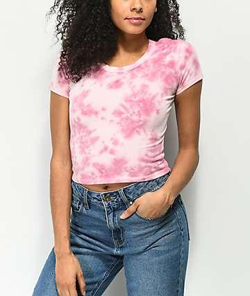 Empyre Nishana Keyhole Pink Tie Dye Crop Top
