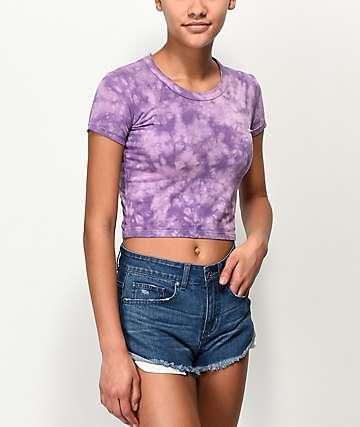 Empyre Nishana camiseta corta con efecto tie dye morado y aberturas