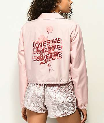 Empyre Noella Loves Me Pink Crop Coaches Jacket