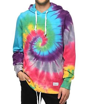 Empyre Ocean Floor Rainbow Tie Dye Pullover Hoodie