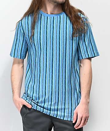 Empyre Offbeat Blue Vertical Striped Knit T-Shirt