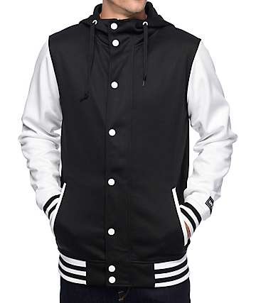 Empyre Offense Black & White Varsity Tech Fleece Jacket