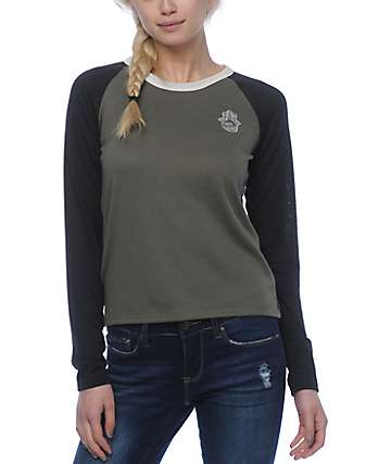 Empyre Olle Hamsa Olive, Caviar & White Long Sleeve T-Shirt