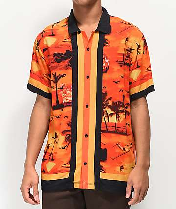 Empyre Outer Banks Orange & Black Woven Short Sleeve Button Up Shirt