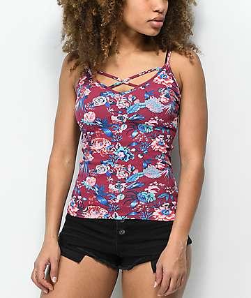 Empyre Penelope camiseta sin mangas roja floral