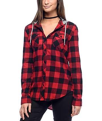 Empyre Pheobe Red & Black Hooded Flannel Shirt