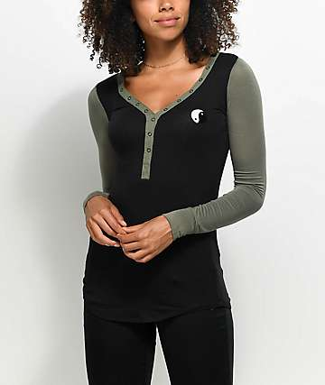 Empyre Phynn Yin Yang Black & Olive Long Sleeve T-Shirt