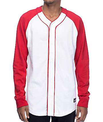 Empyre Pitch Long Sleeve White & Red Baseball Shirt