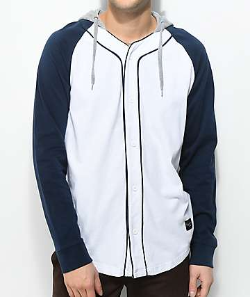 Empyre Pitch White & Navy Long Sleeve Hooded Baseball Jersey