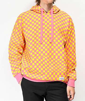 Empyre Pixel sudadera con capucha de cuadros en rosa y naranja