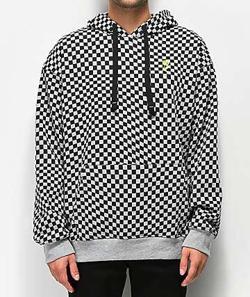 Empyre Pixel sudadera con capucha gris a cuadros