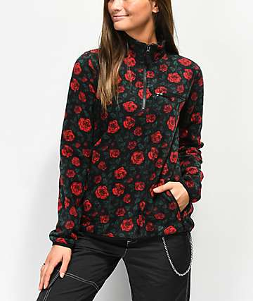 Empyre Posie Allover Roses Quarter Zip Fleece Jacket