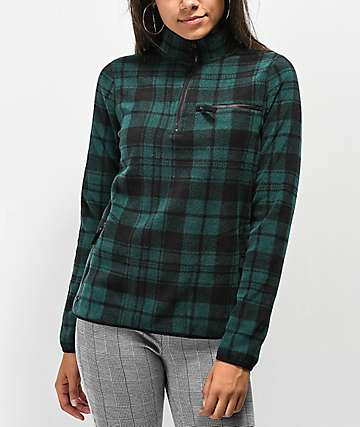 Empyre Posie Green Plaid Half Zip Fleece Sweatshirt