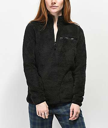 Empyre Posie chaqueta de sherpa negra con media cremallera