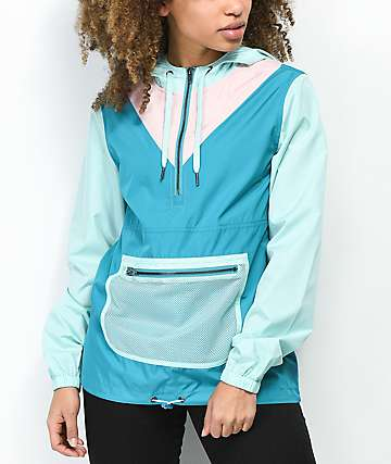 Empyre Presley Aqua & Pink Anorak Windbreaker Jacket