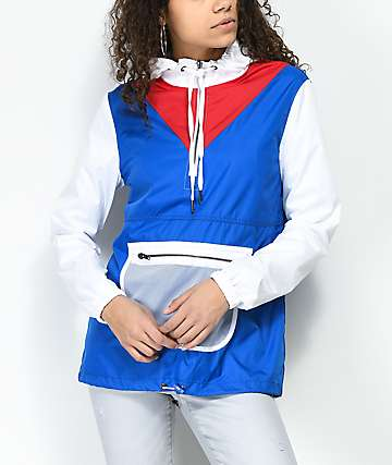Empyre Presley Red, White & Blue Mesh Anorak Windbreaker