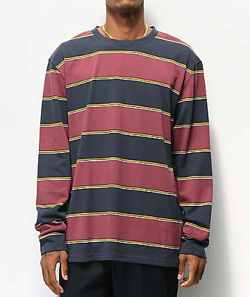 Empyre Primo Navy & Maroon Striped Knit Long Sleeve T-Shirt