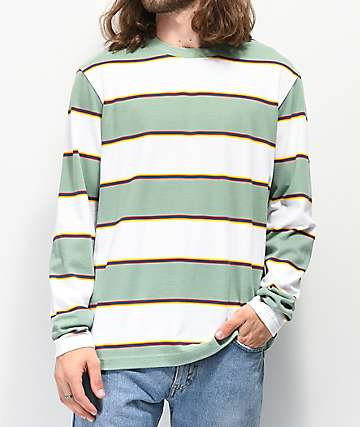 Empyre Primo White & Teal Striped Knit Long Sleeve T-Shirt