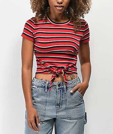 Empyre Raelynn Stripe Red Knot Front Crop T-Shirt