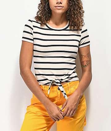 Empyre Raelynn camiseta negra y blanca de rayas