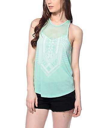 Empyre Ramsey Mint & Mesh Detail Tank Top