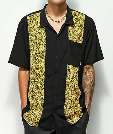 Empyre Randall Black & Cheetah Printed Short Sleeve Button Up Shirt