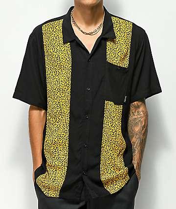 Empyre Randall Black & Cheetah Printed Short Sleeve Button Up Shirt