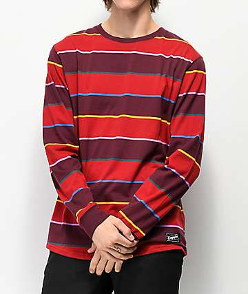 67735969e8 Empyre Recon Dark Red Striped Long Sleeve T-Shirt