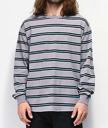 Empyre Recon Grey & Blue Stripe Long Sleeve T-Shirt