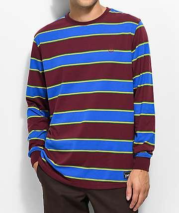 Empyre Recon camiseta de manga larga a rayas en color borgoño, azul, verde, y amarillo