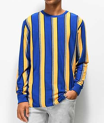 Empyre Recon camiseta de manga larga de rayas azules y amarillas