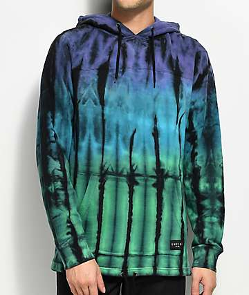 Empyre Reef Purple, Green & Teal Tie Dye Hoodie