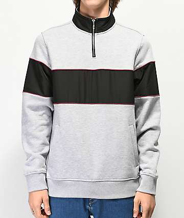 Empyre Refresh Color Block Grey & Black Half Zip Sweatshirt