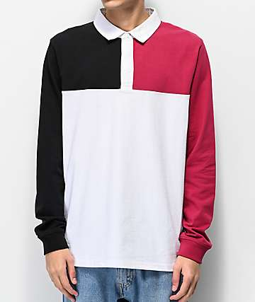 Empyre Ripped White, Black & Berry Long Sleeve Polo Shirt