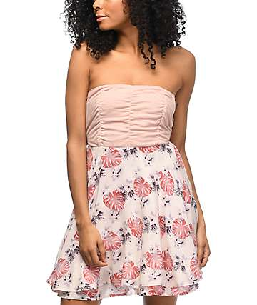Empyre Ronia Mauve Palm Floral Tie Tube Dress