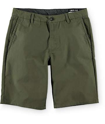Empyre Rowdy Dark Green Canvas Chino Shorts