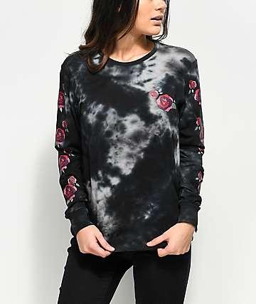 Empyre Rubino & Roses camiseta negra de manga larga con efecto tie dye