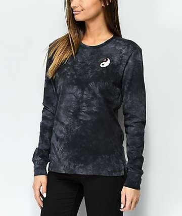 Empyre Rubino Yin Yang camiseta negra de manga larga con efecto tie dye