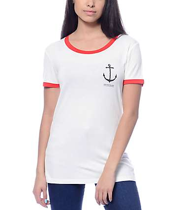 Empyre Rudd Anchor Cream & Red Ringer T-Shirt