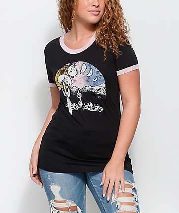 Empyre Rudd Cactus Black & Mauve Ringer T-Shirt