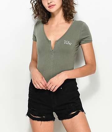 Empyre Sacha Zip Up Olive T-Shirt