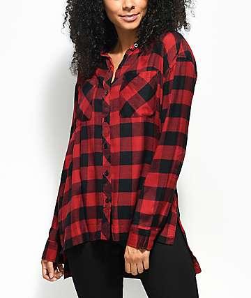 Empyre Sahale Buffalo Red & Black Button Up Shirt