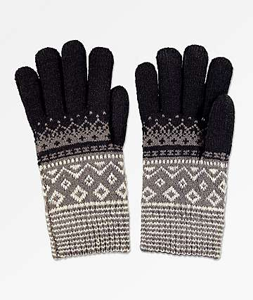 Empyre Sasha Black, Grey & White Chenille Gloves
