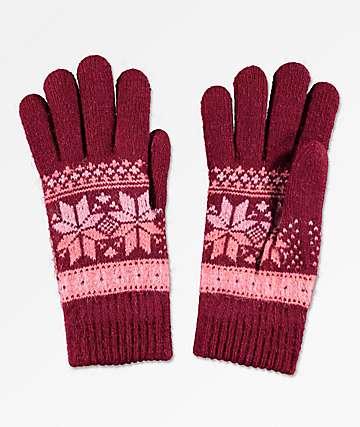 Empyre Sasha Burgundy & Pink Chenille Gloves