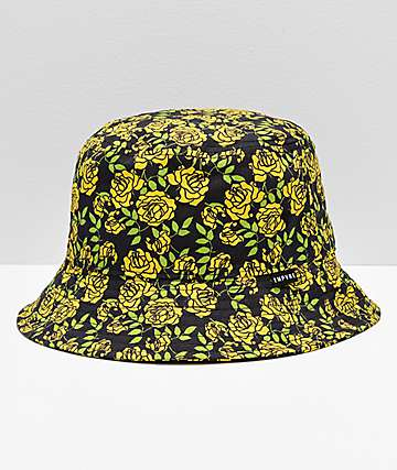 3c3f7cfcd8f Empyre Secret Garden Yellow   Black Floral Bucket Hat